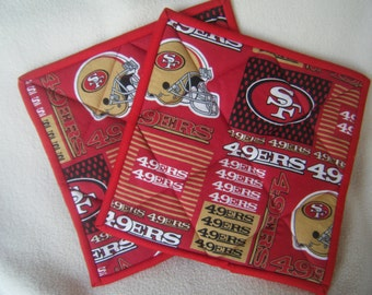 Large 49er's Football Fabric Quilted Potholders - Set of 2 - HANDMADE BY ME