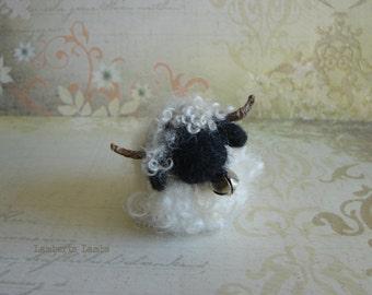 Felted Valais Blacknose Sheep, Needle Felted Sheep, Felted Sheep, Miniature Sheep Decor
