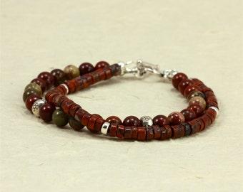 Two-Strand Jasper Bracelet with Hill Tribe Silver Beads, Southwestern Bracelet, Brecciated Rainbow Jasper, Red Bracelet, Two Strand Bracelet