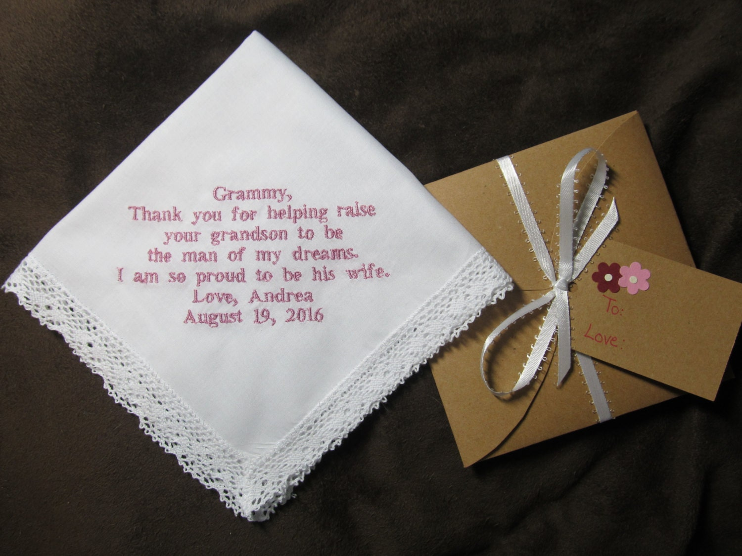 Wedding Gifts For Grandparents From Bride And Groom : Grandmother of the Groom Personalized Wedding Handkerchief