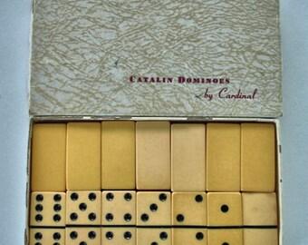 Vintage Bakelite Butterscotch Dominoes Catalin Dominoes Cardinal Dominoes Original box