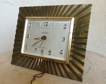 Vintage Art Deco Clock Alarm Clock Seth Thomas Brass Clock Brass Art Deco Clock