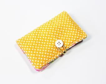 Orange White Mini Dot Fabric Business Card Holder, with Orange Pink Teal Paisley - Credit Card Holder, Cloth Card Holder, Gift Card Holder