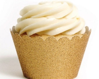 12 Gold Glitter Cupcake Wrappers