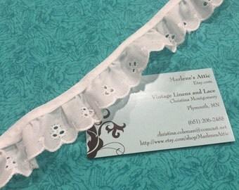 White Eyelet lace, 1 yard of 1 inch White Ruffled Eyelet lace trim for wedding, costume bridal by MarlenesAttic - Item 1II