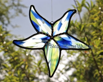 Stained Glass STARFISH Suncatcher - 'Spirit Atlantis', Cobalt Blue, Yellow, White; Decorative Soldering- USA Handmade, Starfish Suncatcher