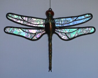 Stained Glass DRAGONFLY Suncatcher, Northern Lights Clear Rainbow Iridescent, Hand-Cast Metal Body, USA Handmade, Iridescent Dragonfly