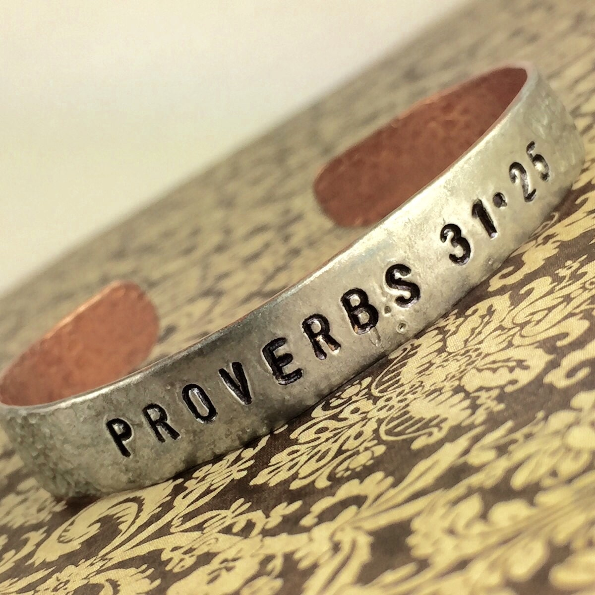 She Is Clothed With Strength And Dignity Bracelet: Proverbs 31 Silver And Copper Soldered Bracelet Proverbs