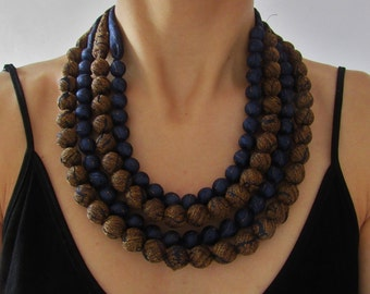 Blue and ocher necklace