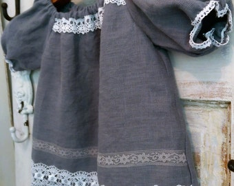 Grey Washed Linen Dress | Slate Grey Washed Linen Flower Girl Dress | Birthday Dress | Photo Shoot Dress | Ellie Ann and Lucy