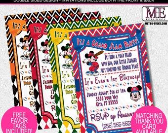 Mickey Mouse Baseball Invitations