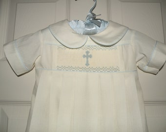 Hand Smocked Ecru Christening Gown with Blue Cross and monogram
