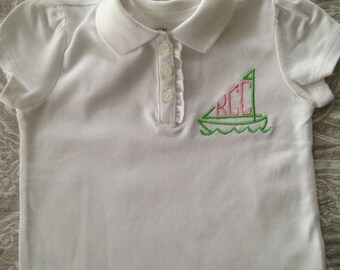 Girl Monogrammed Sailboat Polo