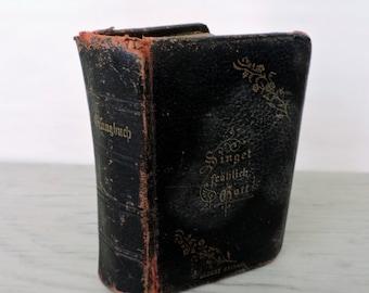 Antique German Hymnal - Deutsches Gesangbuch - 1884 - Leather Hymnal - Leather Bible - German Bible - Antique Bible