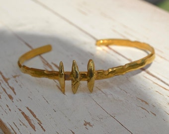 "Sterling silver gold plated ""fishbone"" womens cuff bracelet"