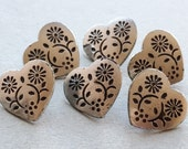 eco friendly vintage heart-shaped silver tone metal shank buttons with stamped floral design--matching lot of 6