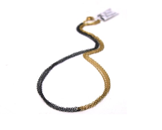 Two Tone Choker. Mixed Metal Necklace. Gold Filled or Sterling Silver and Black. Basic Layering Necklace. NS-1946