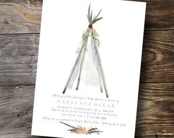 Whimsical Tee Pee Baby/Wedding shower invitation design