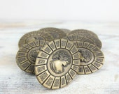 Vintage Brass Knobs / Pulls, for cabinets and drawers, Oval shaped, embossed cameo center.
