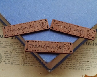 """10 pcs Wooden Wood Coffee Colored """"Handmade"""" Heart Tags Labels 2 1/2"""" (WT2279)"""