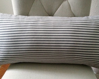 Ticking Pillow - Long Pillow - Bed Pillow - Lumbar Pillow - 12 x 24 Pillow - Rustic Farmhouse - French Country  - Stripe Pillow - Ticking