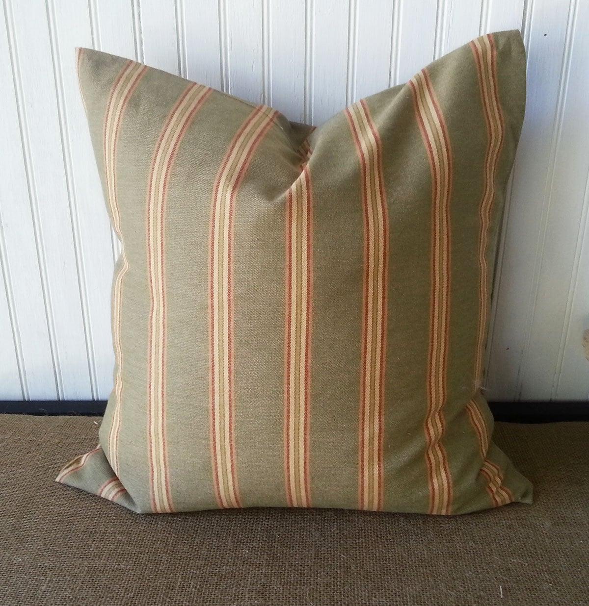 Throw Pillow Covers Farmhouse : Farmhouse Rustic Pillow Striped Pillow 18 x 18 Pillow
