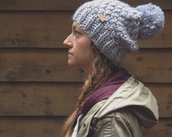 the Redwoods hat - chunky knit textured slouchy style hat in ash grey with jumbo pompom