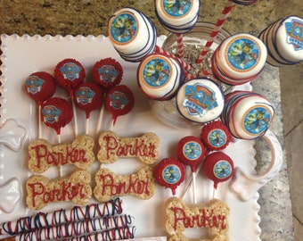 Inspired Paw Patrol  48 Party Combo Cake Pops Marshmallow dipped Rice Krispy Bone Preztel Rods dipped or any party theme