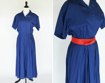 Vintage 1980's Blue Secretary Dress - Navy Blue Short Sleeve Shirtwaist Dress - ladies size small to medium