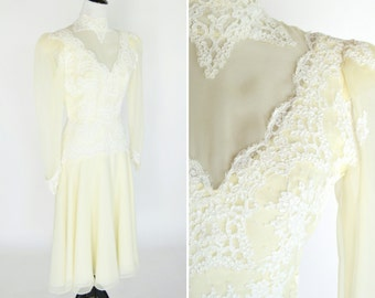 Vintage 1970's Cream Lace Wedding Dress - High Neck Chiffon Lace Dress - Victorian Style mid Length wedding dress - Ladies Size Small