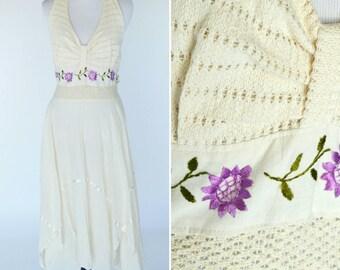 Vintage 1970s Dress - Cream Crochet Embroidered Halter Top Summer dress -  Boho Cotton Hanky Hem Dress -  festival fairy dress- Size  medium