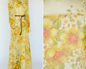 Vintage 1970's Yellow Sheer Floral Maxi Dress - Fred Rothchild Designer - 70's Designer Dress - Boho hippy flower Dress - ladies size medium