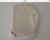 Cream Textured Baby Bonnet - Size to 6 months - Pure Wool