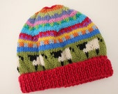 """Red """"Sheep"""" Beanie - size 6-12 months - hand knitted"""