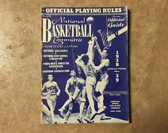 1938-39 NATIONAL BASKETBALL COMMITTEE Official Guide - American Sports Publishing // Official Playing Rules // Collectible // memorabilia