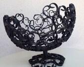 Vintage mid century basket stand metal black made in Spain