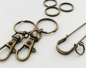 Antique Brass Metal Key Rings (3), Claw Clasp Keychains (2) or Safety Pin Broach (1)
