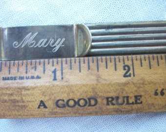 Vintage Book Mark / Marker ~ Engraved Mary ~ Antiqued Silver tone ~ Metal ~ Romantic Chic ~ Cursive Text