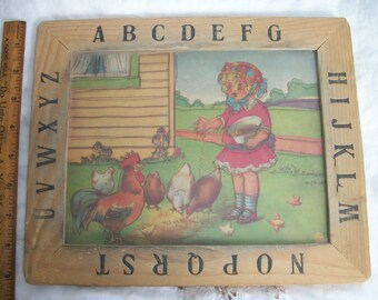 ABC Wooden Framed ~ Primitive Child Feeding Chickens Rooster and Baby Chicks ~ Est. Era 1920's  / 1940's ~ Cottage Farmhouse Chic