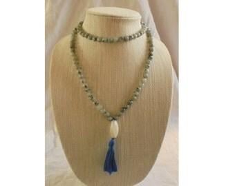 Sesame Jasper and Quartz Mala Buddhist prayer beads rosary 108 beads Mala Worry beads  Meditation.