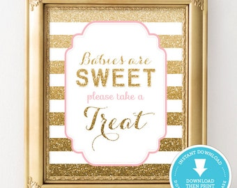 Pink and Gold Baby Shower table sign - Baby Shower Decor - Food sign - Gold Glitter Baby Shower - Baby Shower Girl party sign -  Download
