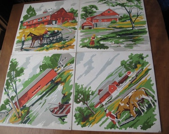 Paint By Number Set of 4, Country Scenes, Farm, Orange, Green, Covered Bridge, Cows, Fishing, Barn, Horse, Wagon