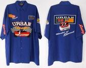 Mens Button Up Shirt/ 90s Club Kid/ Nascar Shirt/ 90s Button Up Shirt/ Mens Button Down/ Nascar Jacket/ Sporty Spice/ Streetwear/ Race Car