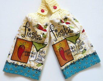 Fiesta Crochet Top Kitchen Hand Towel Set Of 2