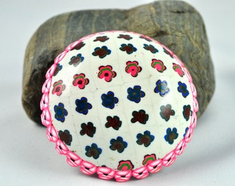 Bowl trimmed in Pink flowers, Geometric Polymer Clay