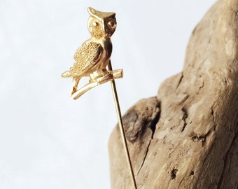 Vintage 14k Gold Owl Pin, Stick or Hat Pin, Vintage Pin, Gold Pin