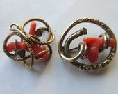 Antique Coral Pins, Victorian Gold Fill Jewelry, Victorian Coral Jewelry, Estate Jewelry, Good Luck Charm Jewelry, Victorian Talisman, Gifts