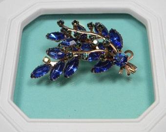 Spectacular Blue Vintage Brooch, Gorgeous Spray, Rhinestones, Classic, Elegant