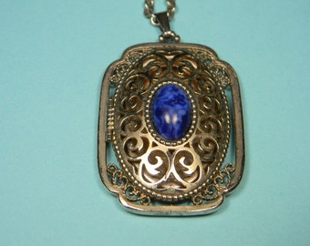 1973 Avon Yesteryear Picture Locket, Gold Tone and Blue, Book Piece