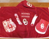 Infant Sports Fan Hooded Towel with 2 burp cloths and 2 washcloths - Free Personalization